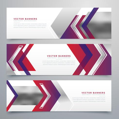 modern business banners design set of three - Download Free Vector