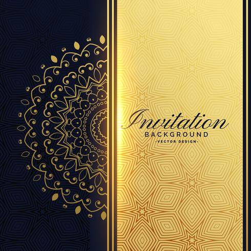 beautiful golden invitation background with mandala decoration