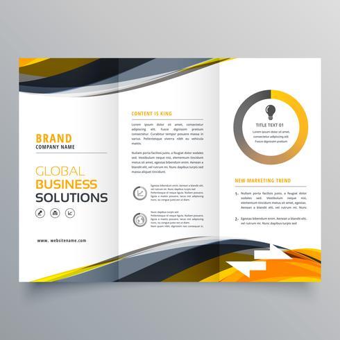 tri fold business brochure design template with wavy yellow blac - tri fold business brochure