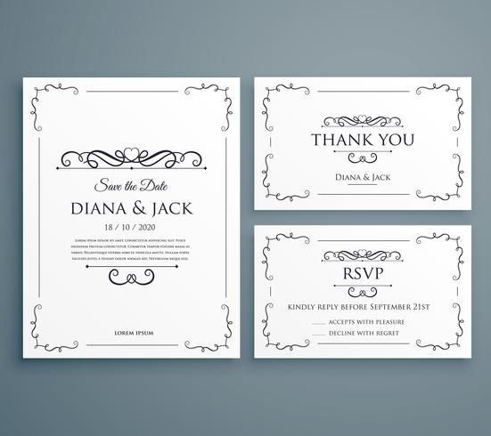 clean wedding invitation, thankyou card, save the date template