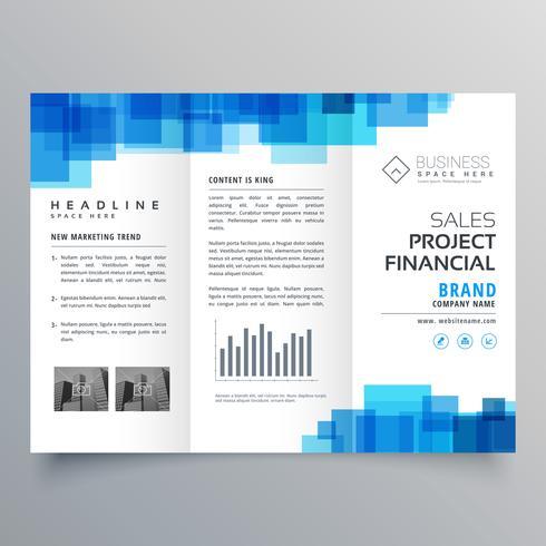 blue square shape trifold business brochure design template - tri fold business brochure