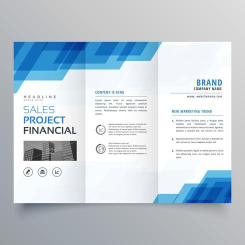 blue geometric trifold business brochure design template - Download - tri fold business brochure