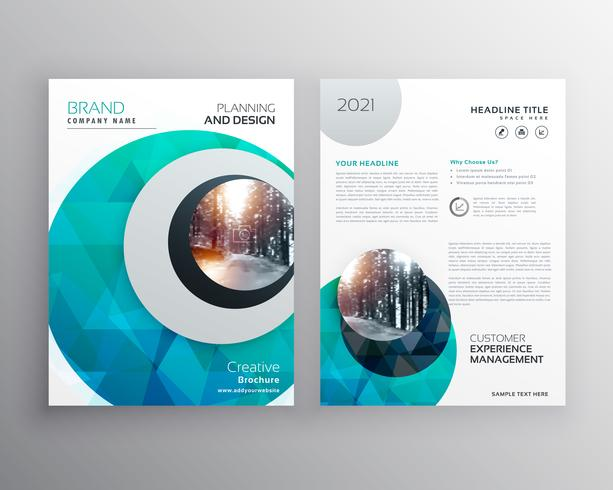 blue brochure flyer cover page template for annual report in siz