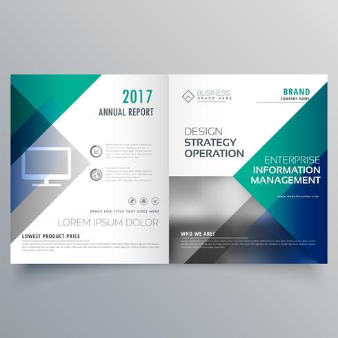 professional blue bi fold brochure template design vector - Download