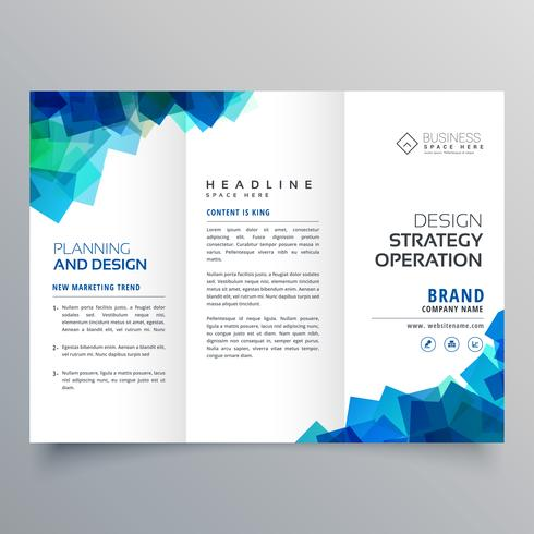 business trifold brochure layout template with abstract blue sha