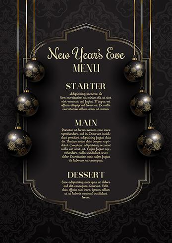 Luxurious elegant New Year\u0027s Eve menu design - Download Free Vector