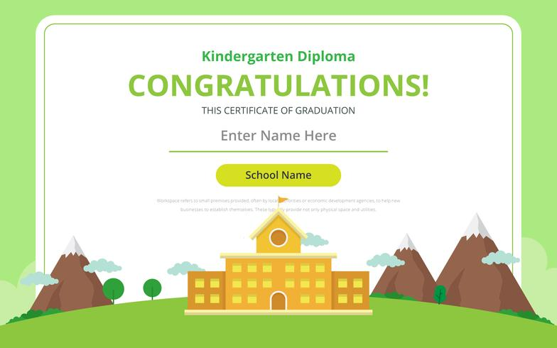 Kindergarten Diploma Certificate Template - Download Free Vector Art
