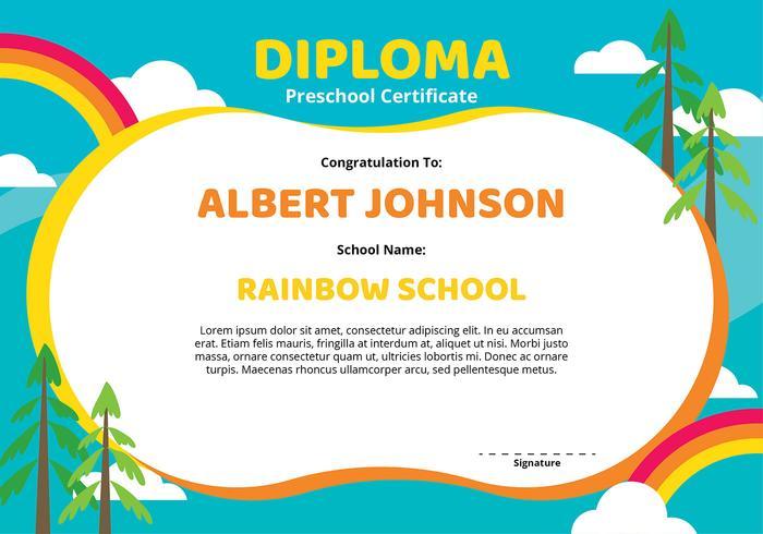Diploma Preschool Certificate Template - Download Free Vector Art