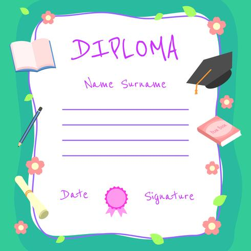Girly Kindergarten Diploma Certificate Vector - Download Free Vector