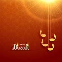 hindu diwali festival greeting card design with hanging ...