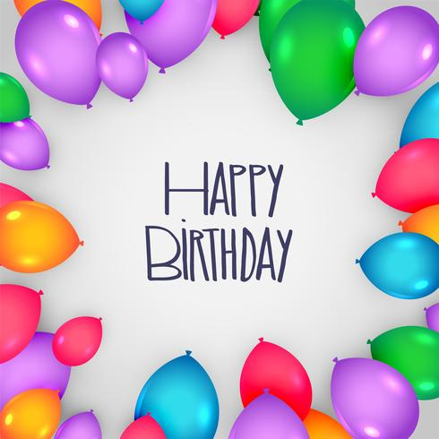 happy birthday card design with colorful balloons - Download Free
