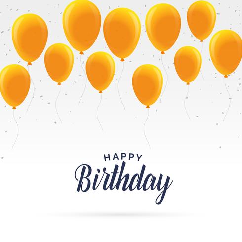 elegant happy birthday card with golden balloons - Download Free
