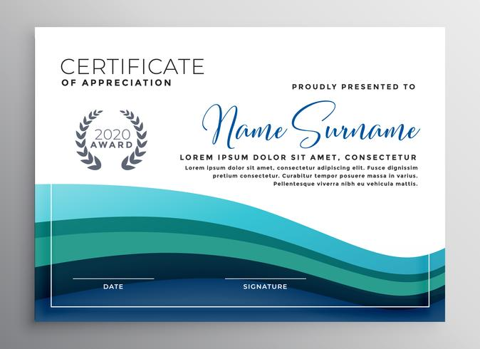 stylish blue wave certificate of appreciation template - Download
