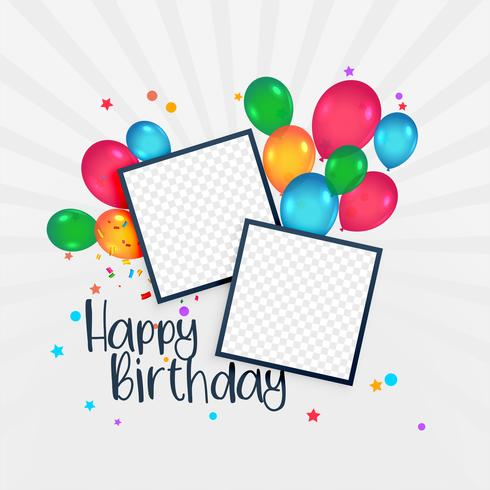 happy birthday card with photo frame and balloons - Download Free