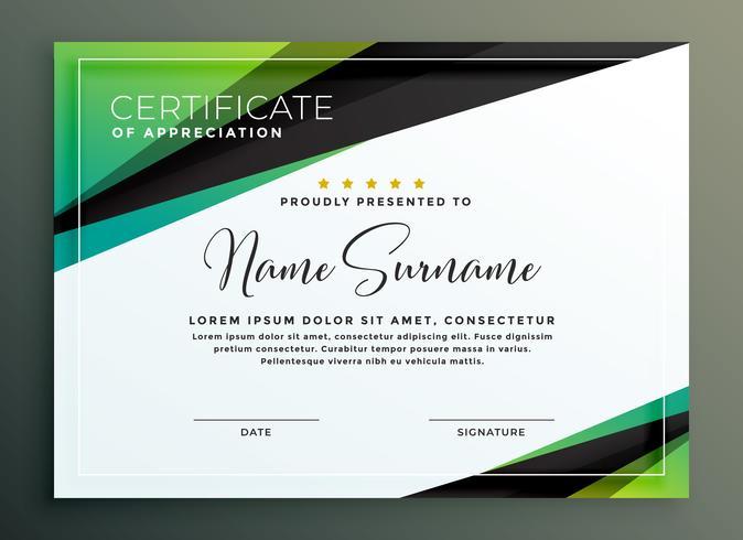 certificate template design in green black geometric shapes