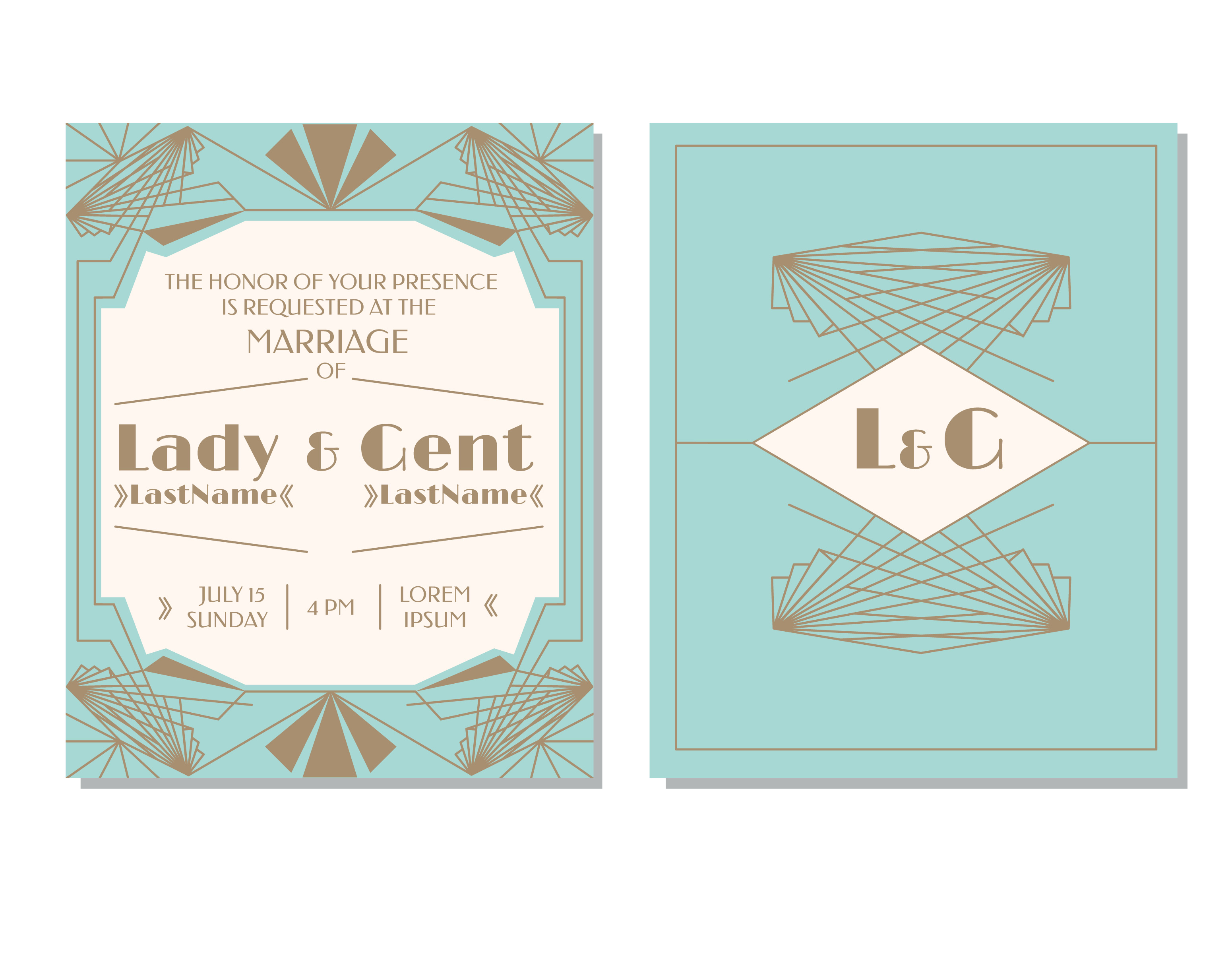 Invitation Card For Wedding Layout Art Deco Wedding Invitation Vector - Download Free Vector