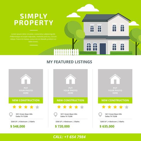 Real Estate Listing Template Vector - Download Free Vector Art