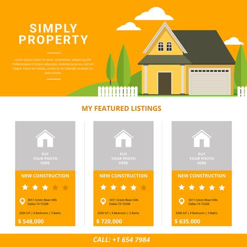 Real Estate Listing Template - Download Free Vector Art, Stock