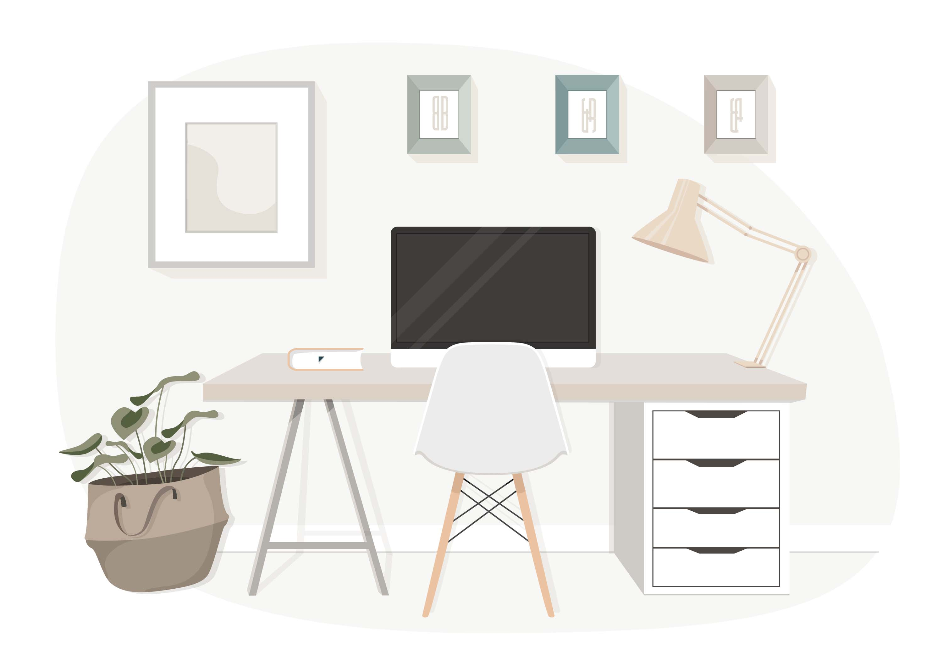 Matching Office Desk Accessories Wood Desk Free Vector Art 3281 Free Downloads