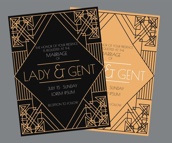Art Deco Wedding Invitation Vector - Download Free Vector Art, Stock