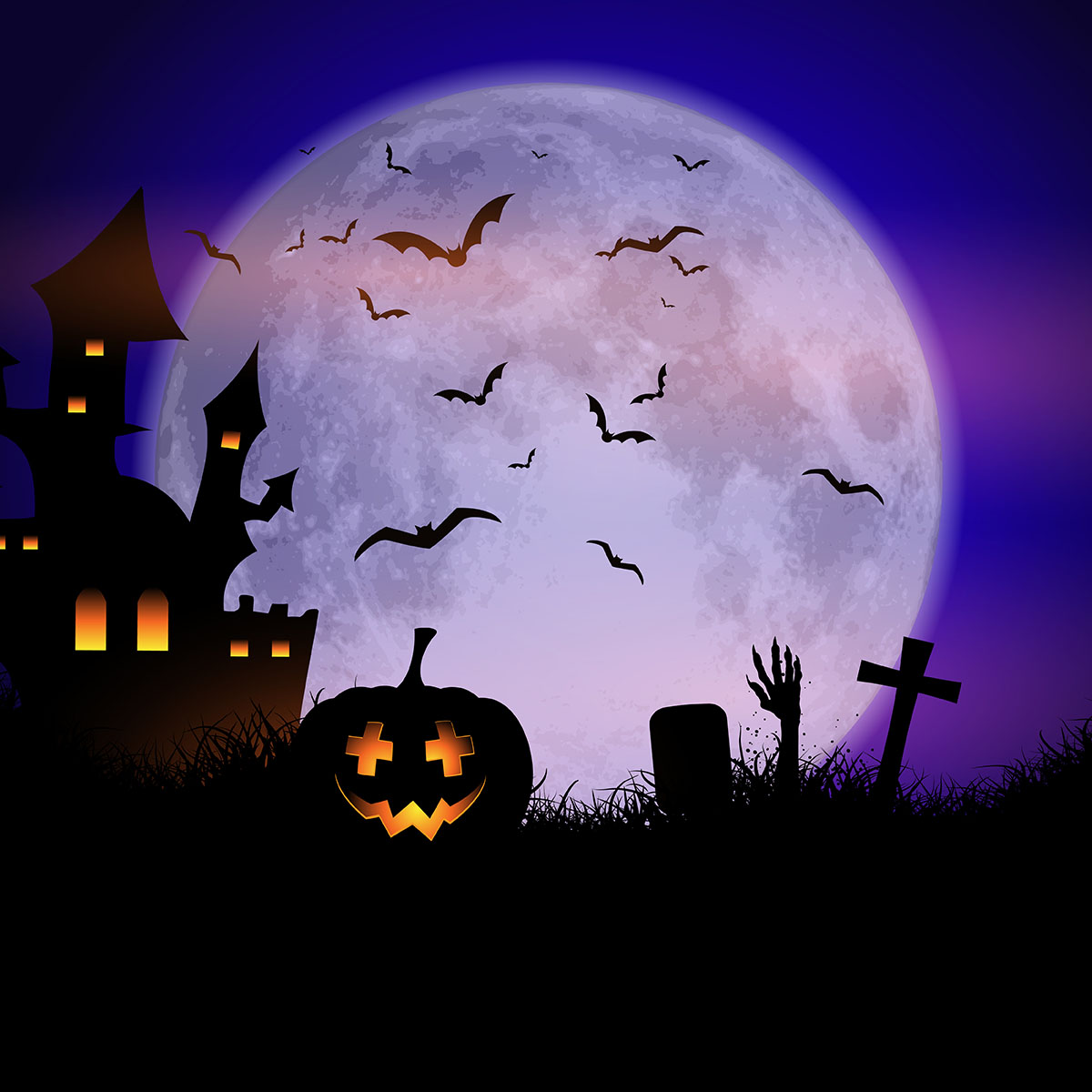 Fall Graveyard Cemetery Wallpaper Spooky Halloween Background Download Free Vector Art