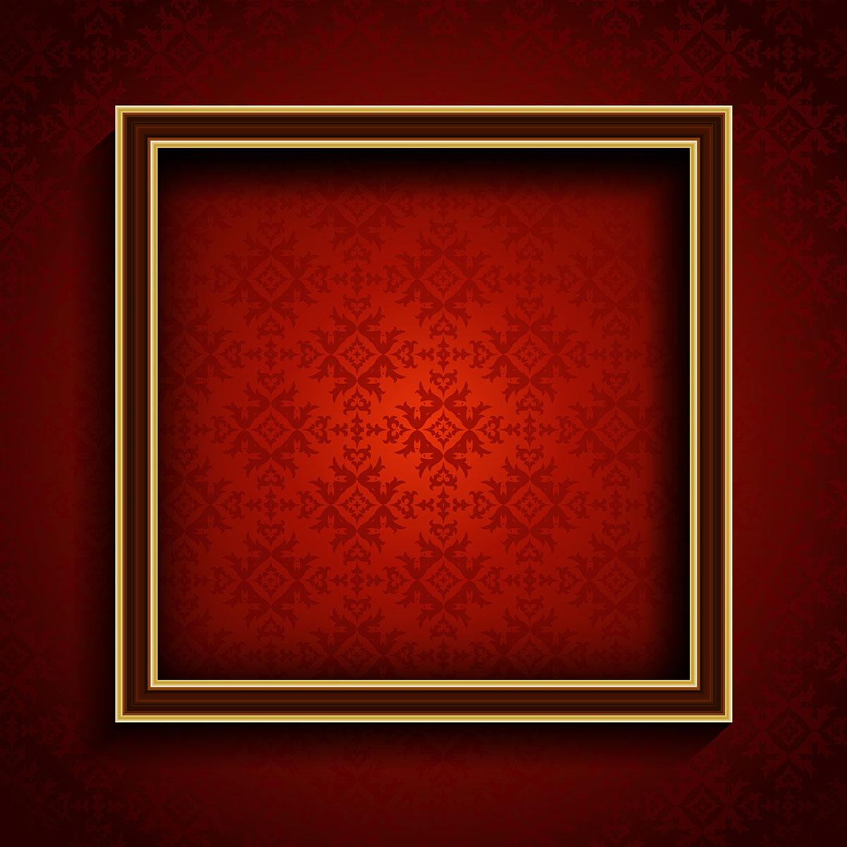 3d White Brick Wallpaper Old Picture Frame On Red Damask Background Download Free