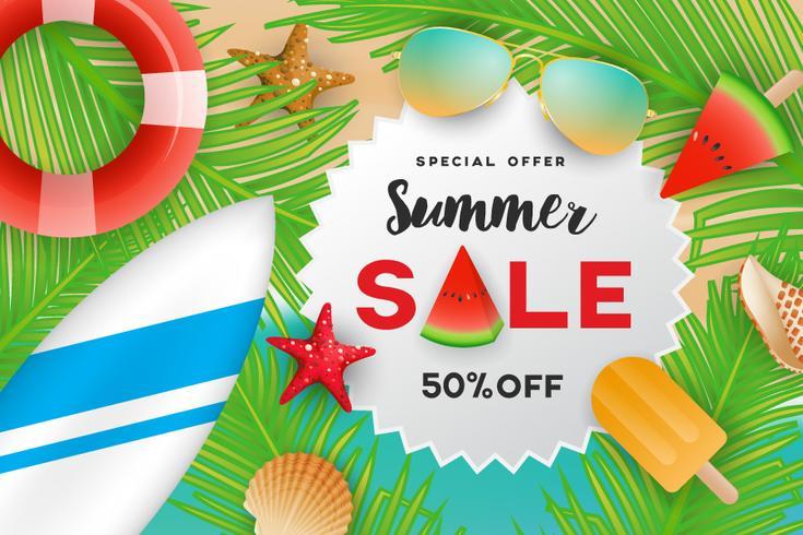 Summer sale banner background design with summer decoration