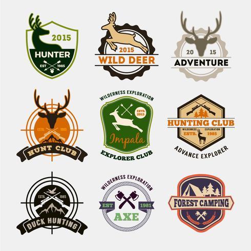 Set of hunting and adventure badge design for emblem - Download Free