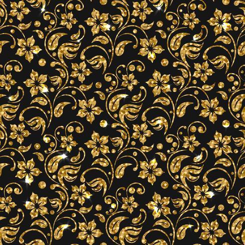 Vector seamless damask pattern with flowers Golden glitter pattern