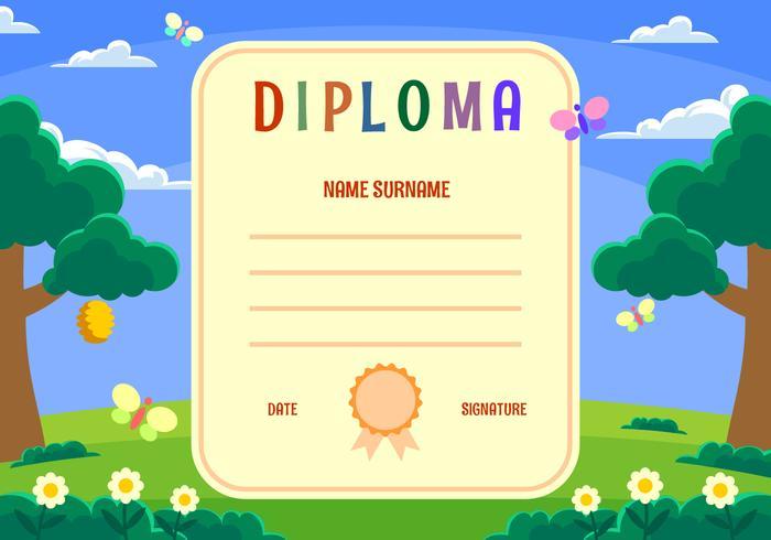 Kindergarten Diploma Certificate Vector - Download Free Vector Art