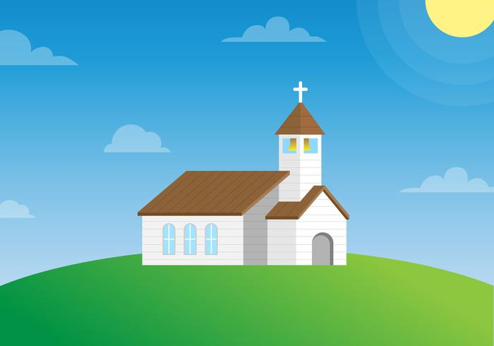 Country Church on a Hillside Vector - Download Free Vector Art