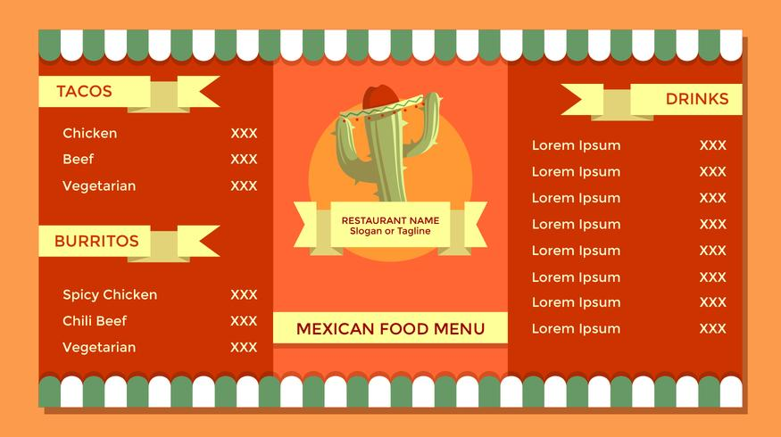Vintage Mexican Food Menu Template Vector - Download Free Vector Art - food menu template