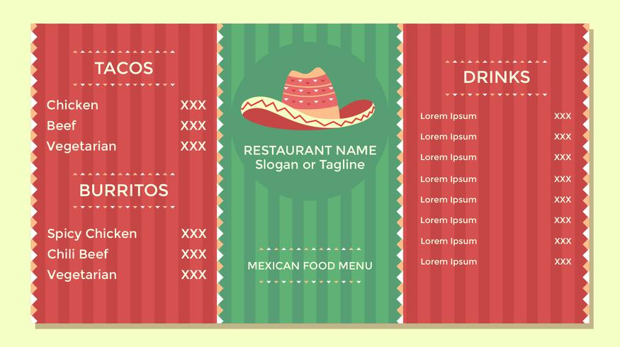 Mexican Food Menu Flyer Template Vector - Download Free Vector Art