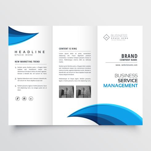 modern blue trifold business brochure layout design - Download Free