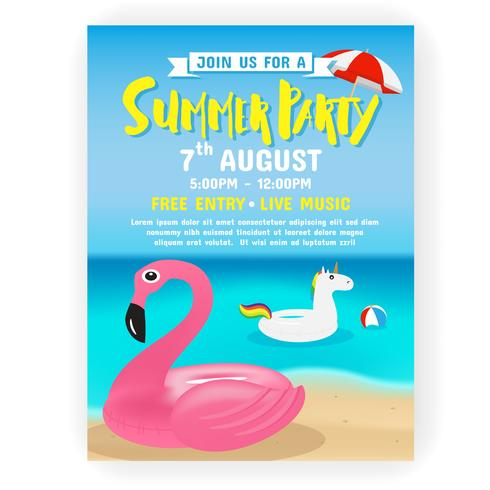 Summer party invitation flyer background template design - Download