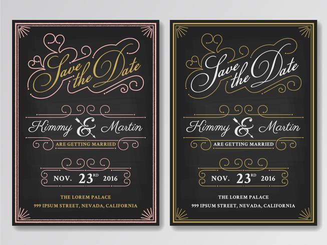Vintage chalkboard save the date wedding invitation template Ea - save the date template