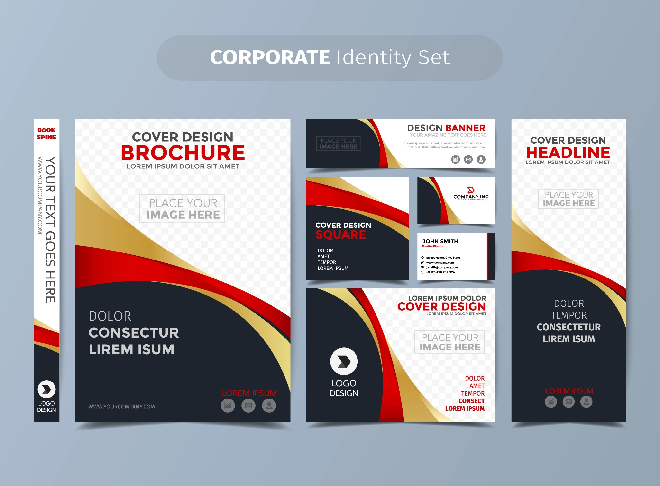 Corporate Graphic Design Gold And Red Corporate Identity Set Download Free Vector Art