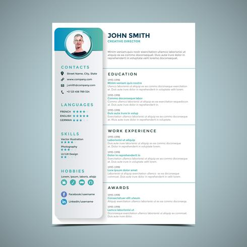 Simple Resume Design Template - Download Free Vector Art, Stock - Simple Resume Design