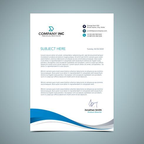 Blue Curve Letterhead Design - Download Free Vector Art, Stock