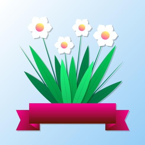 Paper Cut Spring Flowers For Greeting Card And Holiday Background