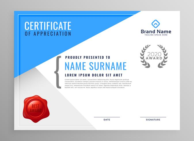 modern blue certificate of appreciation design - Download Free