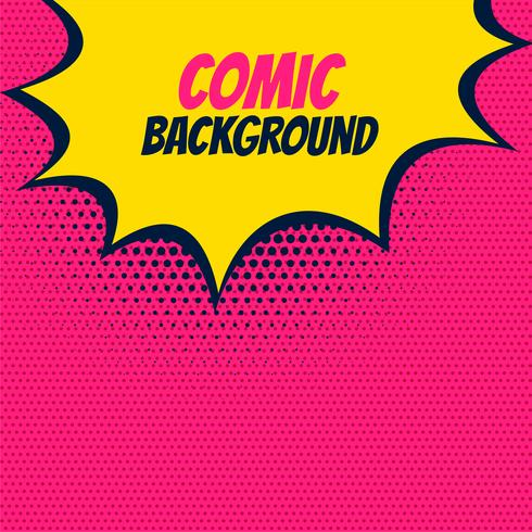 pop comic pink background with yellow burst bubble - Download Free