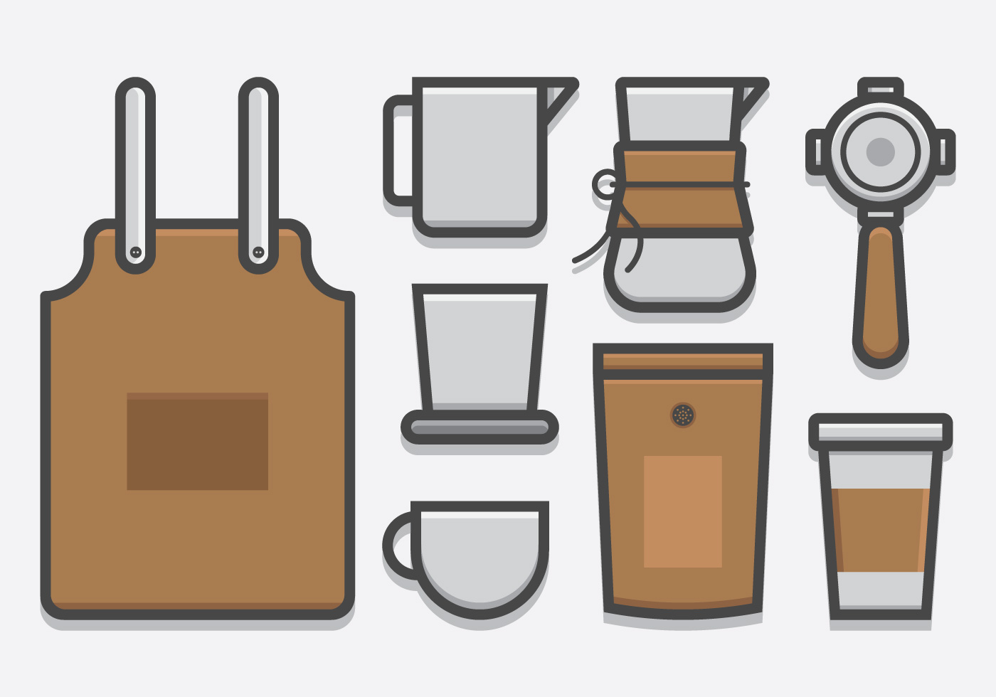 Coffee Art Maker Set Barista And Coffee Coffee Maker Icon Set In Lineart Style