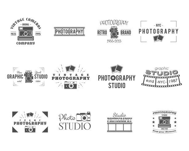 Vintage Photography Badges, Labels templates Monochrome design with