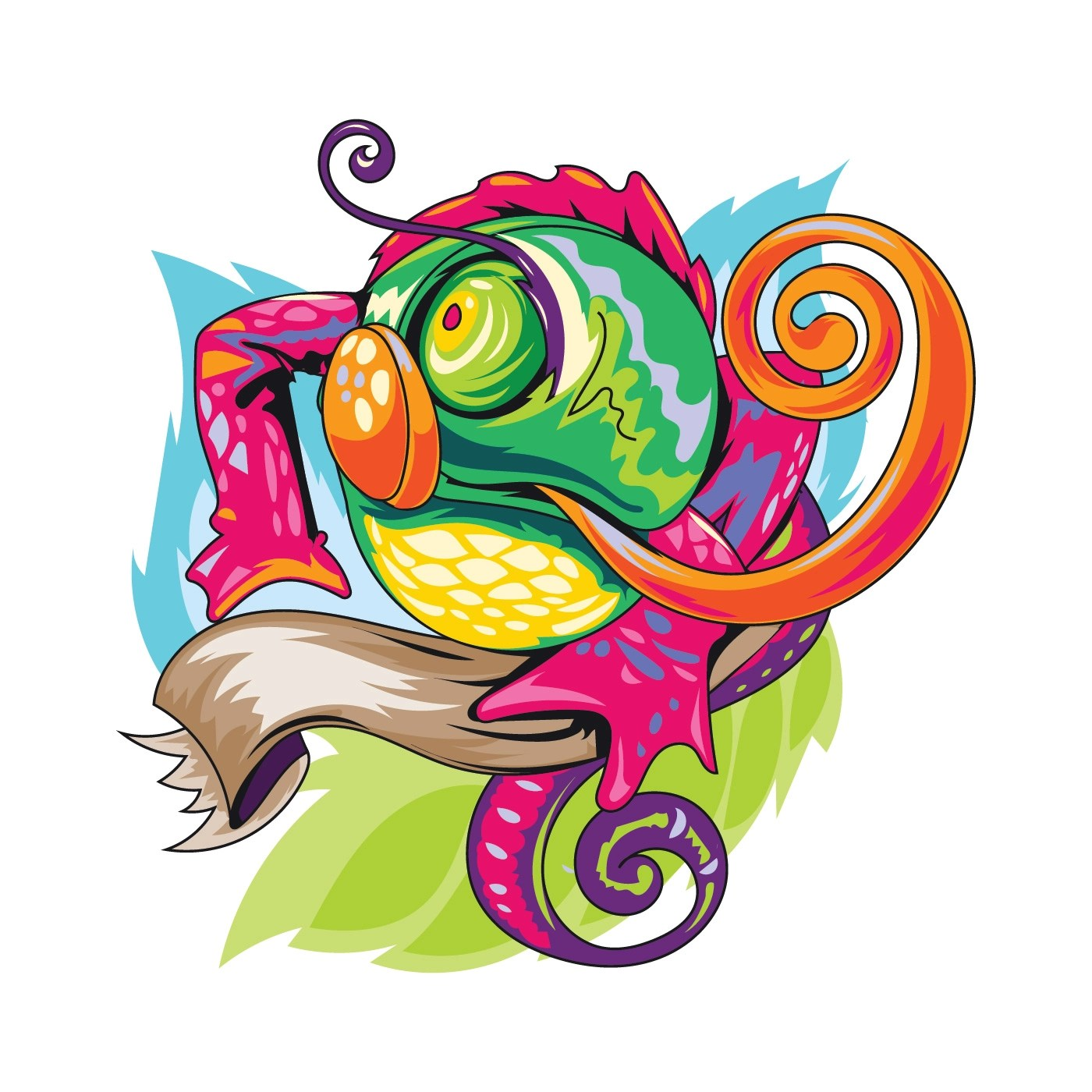 Chameleon Style Colorful Lizard Or Chameleon Illustration With New Skool Tattoos