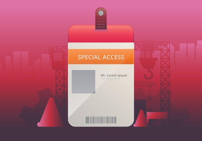 VIP Pass ID card Template Realistic Blank Vertical ID for