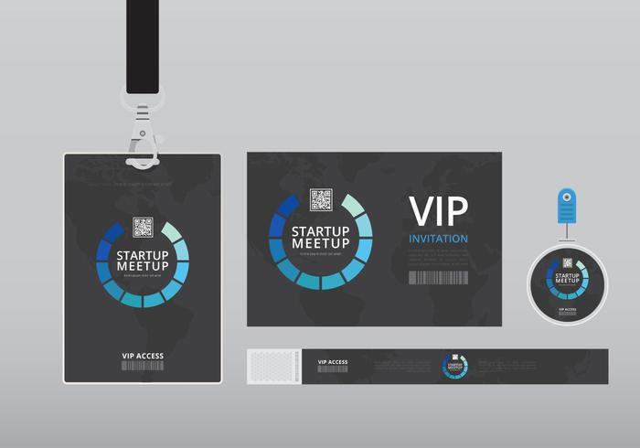 VIP Pass ID card Template Realistic Blank Vertical ID with black - free vip pass template