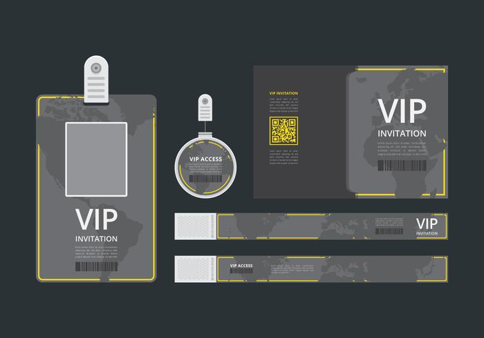 VIP Pass ID card Template VIP Pass for Event Template Flat Blank