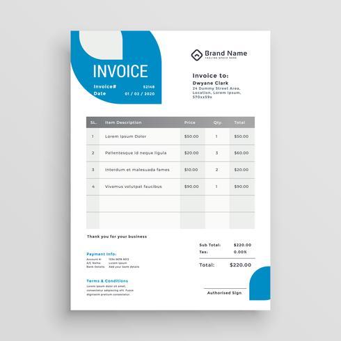 diseño de plantilla de factura comercial azul - Descargue Gráficos y
