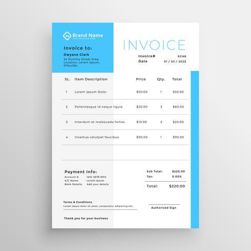 diseño de plantilla mínima azul de factura comercial - Descargue
